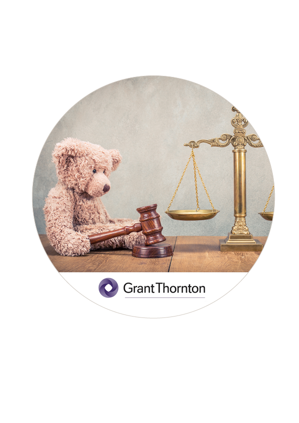 Grant Thornton logo and picture of a teddy bear holding a gavel